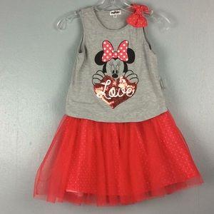Disney Minnie Mouse Girls 2pc Tank & Tutu Skort L